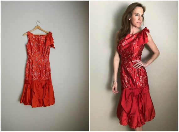 50s red cocktail evening dress - small