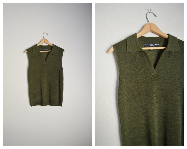 dcb33f21c6aad Vintage 80s 90s olive green knit collared sleeveless minimal