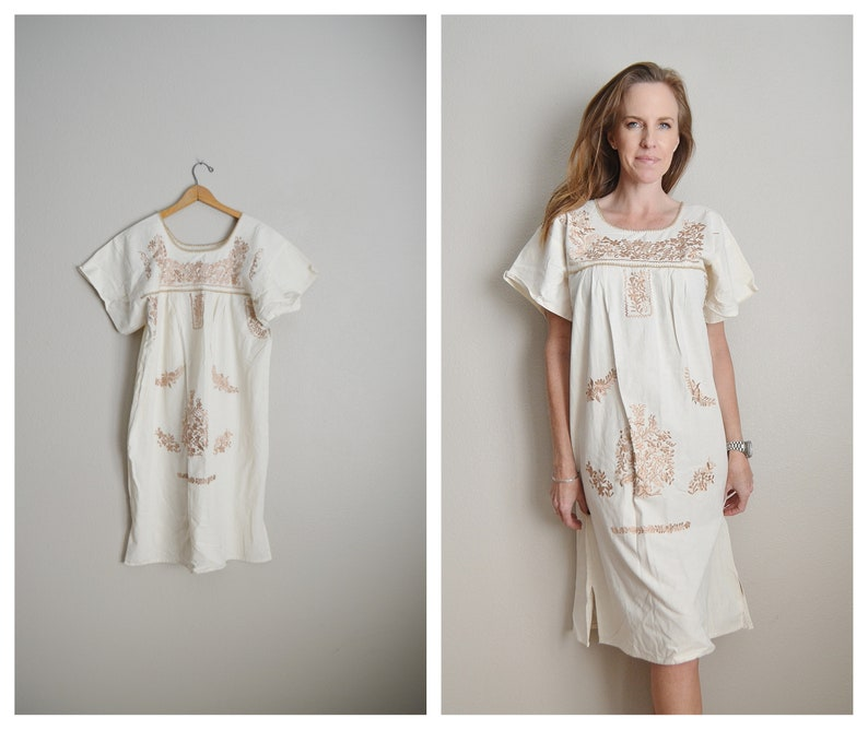 small medium large vintage ivory cream beige embroidered mexican oaxacan patio summer cotton boho hippie ethnic lounge dress one size