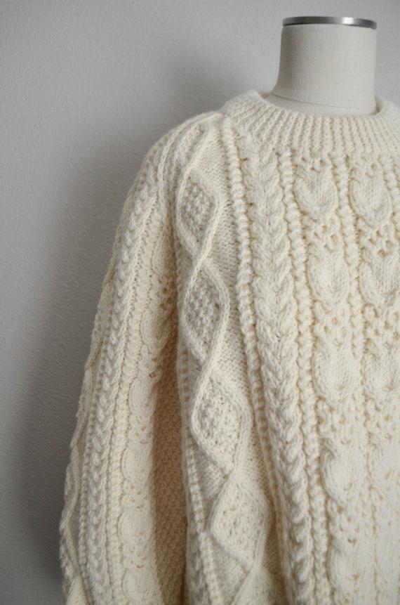 ivory wool aran irish sweater- large - image 4