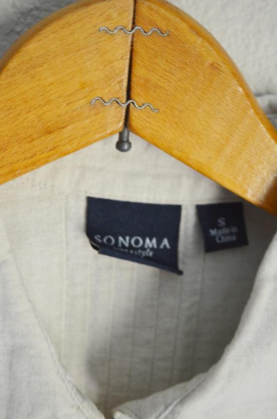 tan linen blouse / vintage 90s embroidered tan li… - image 8