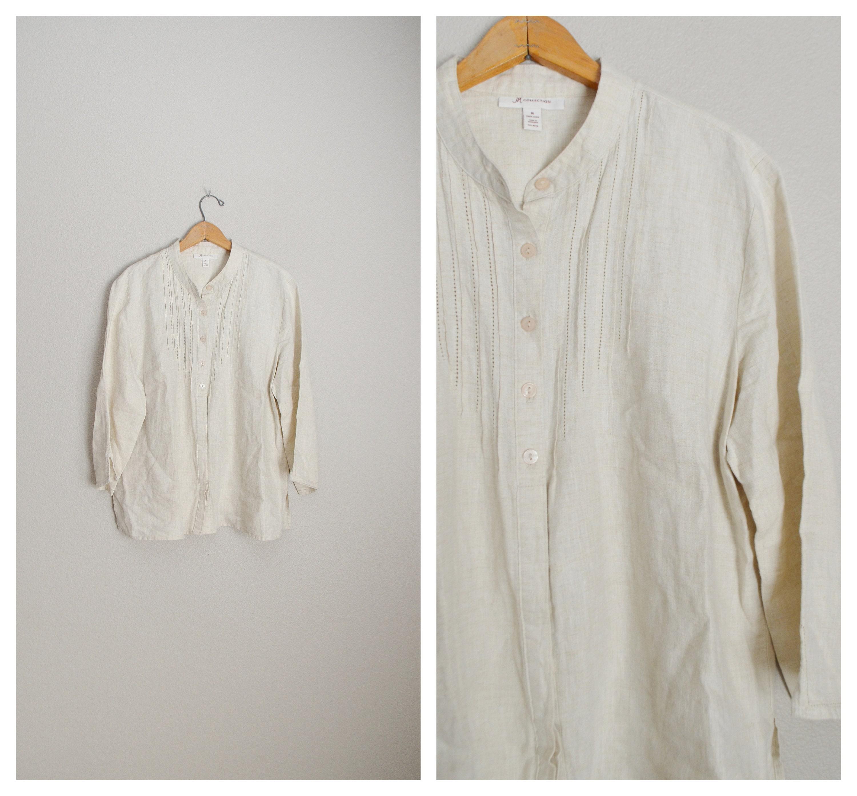 b8f3ccef2c8b7 Light weight beige tan LINEN tunic blouse 90s minimal breezy