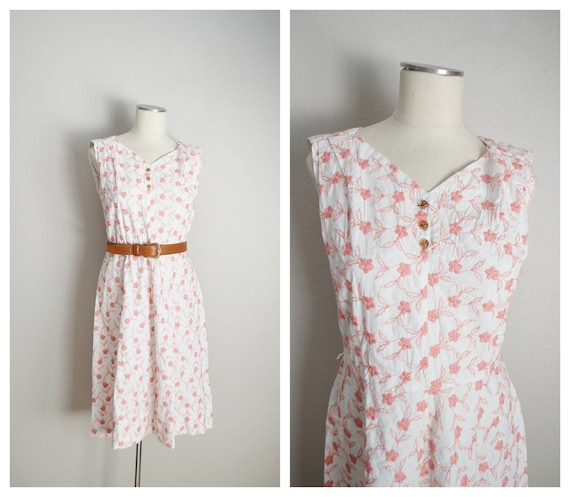 40s pink white floral embroidered sundress -- smal