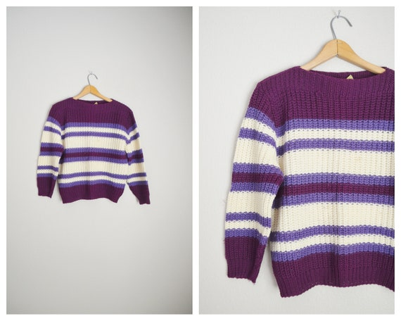 1940s striped crop wool sweater - medium