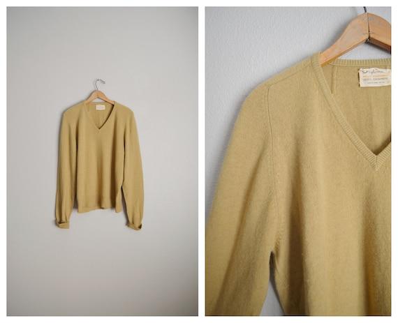 vintage 60s camel tan cashmere sweater - mens medi