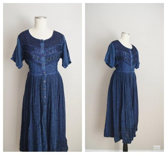 blue rayon maxi dress