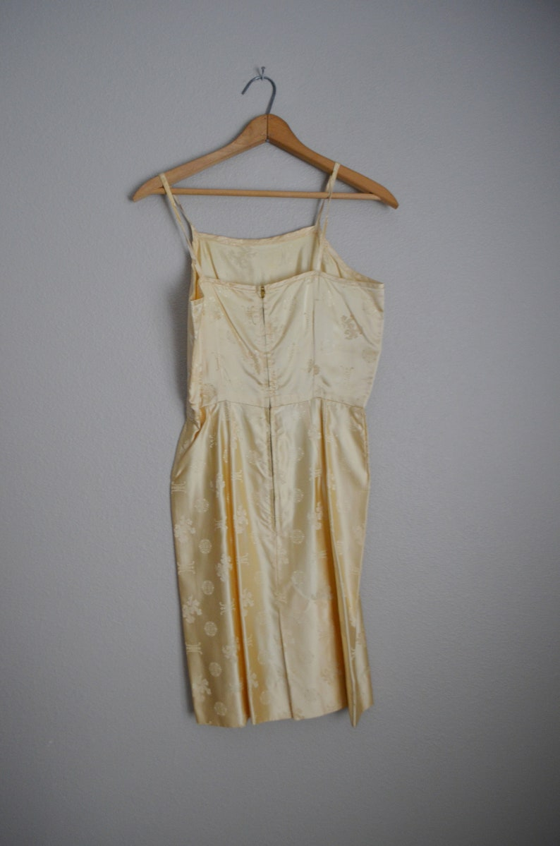 small ivory sundress  vintage 60s satin silky asian sundress