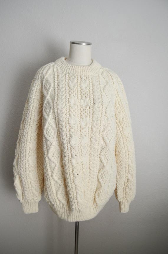 ivory wool aran irish sweater- large - image 3