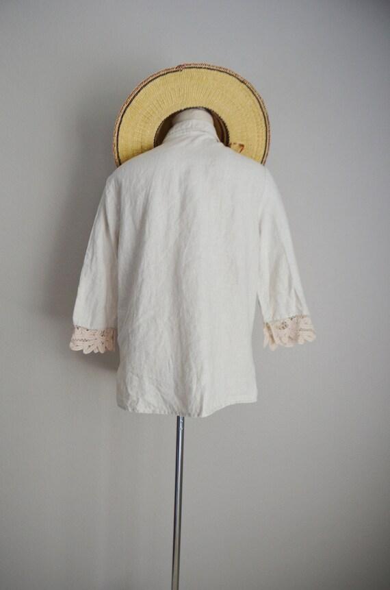 linen and lace blouse / vintage tan linen blouse/… - image 8