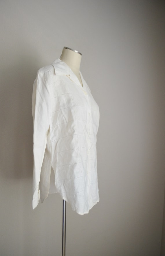 ivory linen tunic top / vintage 80s long ivory of… - image 6