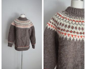 brown fair aisle sweater / vintage heavy duty wool winter fair aisle sweater / large