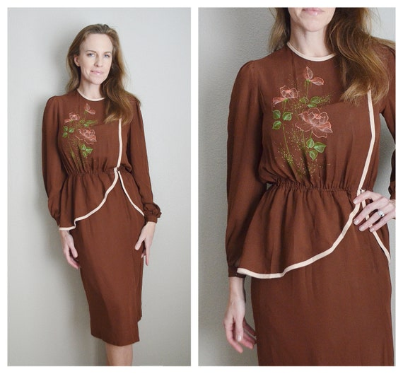 40s brown peplum dress - small