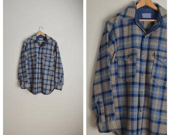 blue plaid wool Pendleton jac shirt / vintage 1970s 1980s plaid wool shirt jac shirt thick wool shirt - mens medium