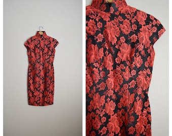 vintage 50s  black red lace cheongsam quipao slip asian overlay dress -- womens xsmall -- 32-26-35