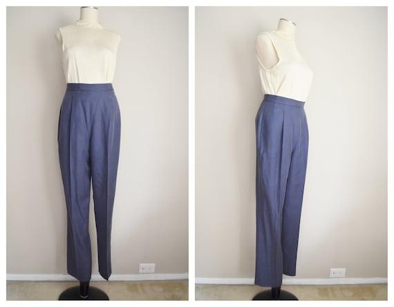 90s blue dress trousers  cobalt blue tafetta  blue high waist pants  blue dress trousers  cocktail trousers  90s vintage trousers