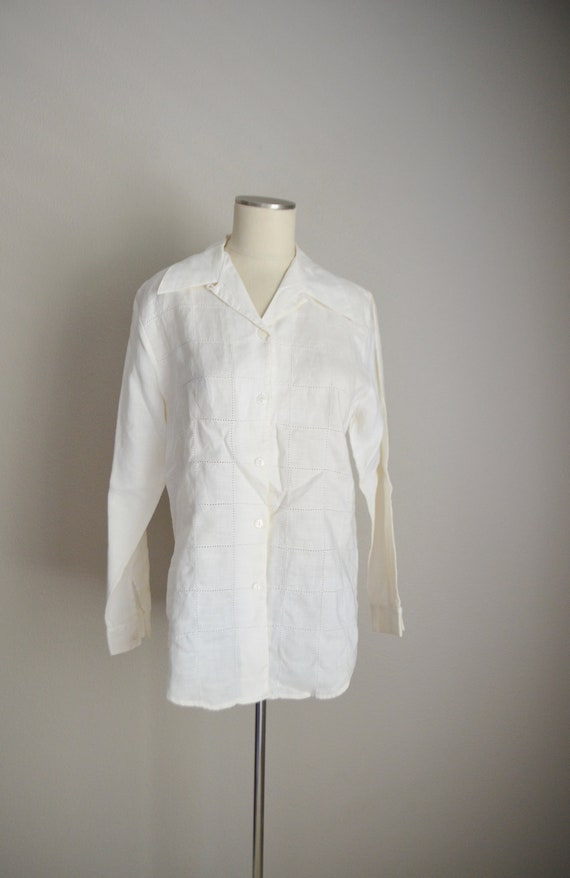 ivory linen tunic top / vintage 80s long ivory of… - image 3