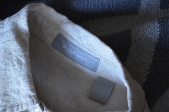 linen and lace blouse / vintage tan linen blouse/… - image 10