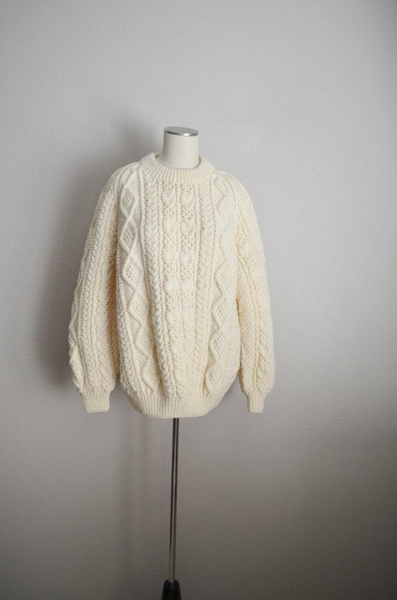 ivory wool aran irish sweater- large - image 2
