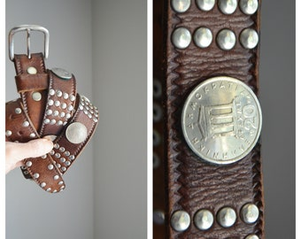 vintage 70s 80s studded riveted silver studs and coins and brown leather belt / mens womens unisex 36