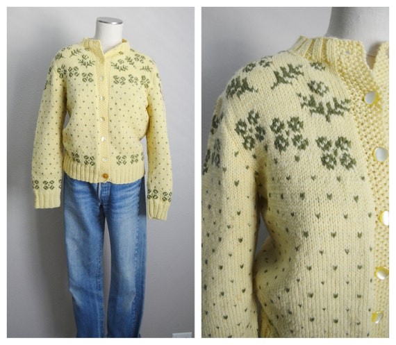50s wool fair isle cardigan - small / med