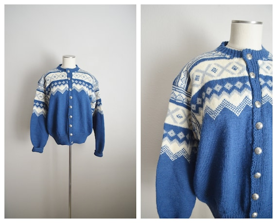 norwegian blue fair isle cardigan - large / xl