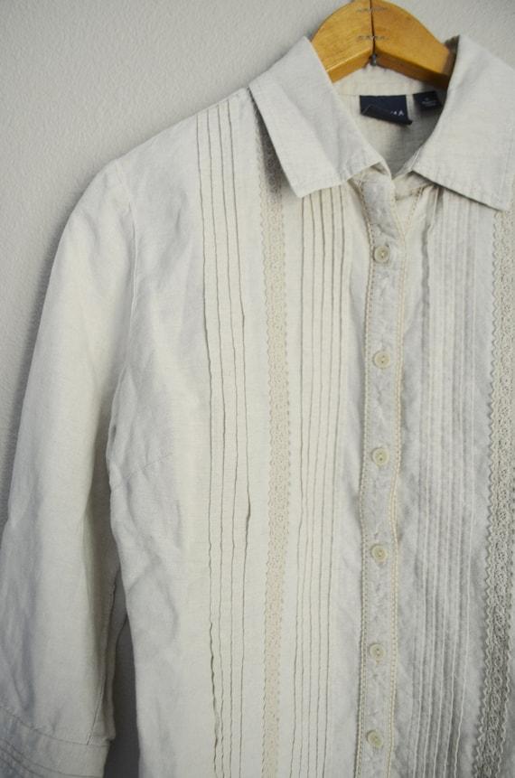 tan linen blouse / vintage 90s embroidered tan li… - image 4