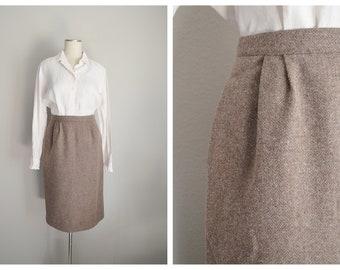 brown wool skirt / vintage 80s chestnut brown wool skirt -  small -25/ 26