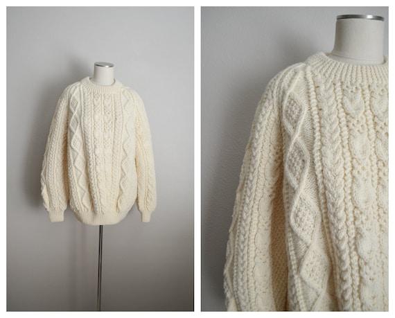 ivory wool aran irish sweater- large - image 1