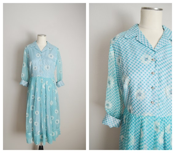 1940s floral turquoise blue dress - medium