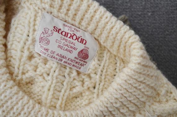 ivory wool aran irish sweater- large - image 8