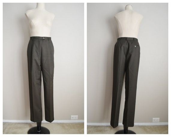 olive wool trousers - 26x31