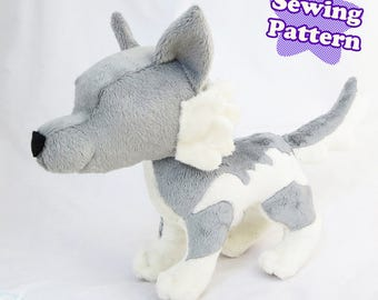 Wolf Plushie Sewing Pattern Instant Download PDF Pattern Wolf Plush Tutorial