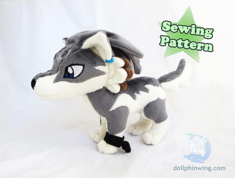 Wolf Link Plushie Sewing Pattern Add-On Embroidery Wolf Plush  7e26523f6