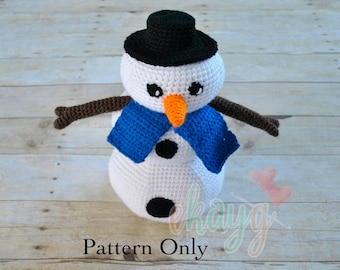 Crochet Pattern, Snowman Stacking Rings Toy