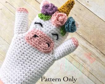 Crochet Pattern, Unicorn Hand Puppet