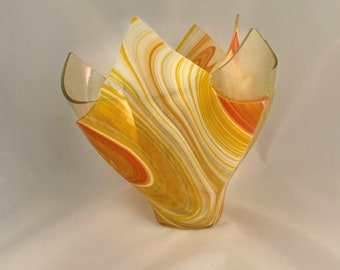 Orange/Yellow/Cream with Clear Irid Swirl Vase