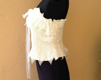 2b04120979 Very Fine Vintage Italian Lace on Shirred Creme Satin Tube Top