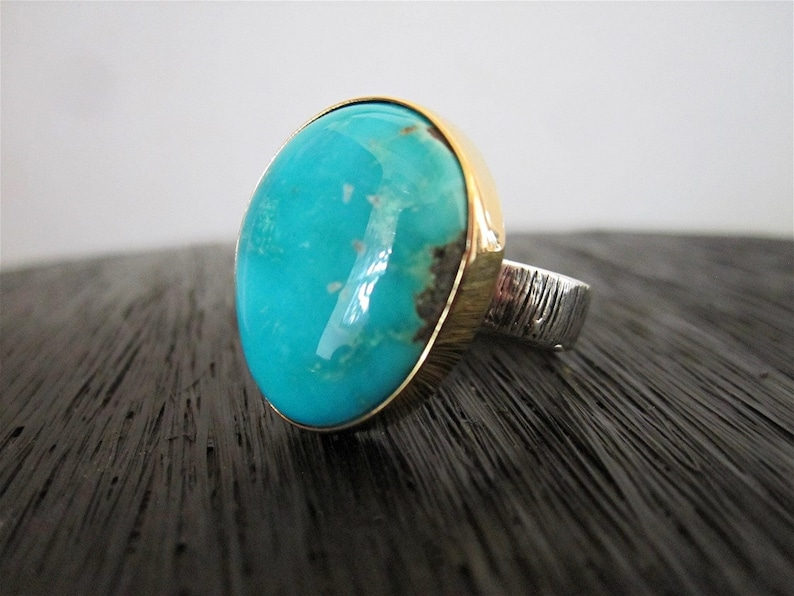 All Natural American Fox Turquoise Ring with 18K Gold Bezel and Artisan Sterling Silver Ring size 5 34