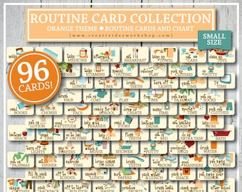 Routine Card and Chart | Orange Theme | 96 Total Cards and Chart | Instant Download | Children's Chart | DIY Chart | Children's Routines