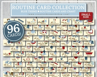 ROUTINE Cards and Chart | Printable | Blue | Boy's Routine Chart | 96 Cards and Chart | Children's Chart | Daily Routine | Small Cards