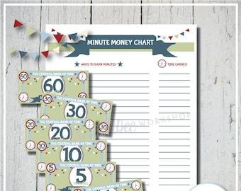 Children's Reward Money | Blue Theme | Minute Money | Play Money | Screen Time Rewards | Printable Reward Money | Kid's Money | Reward Chart