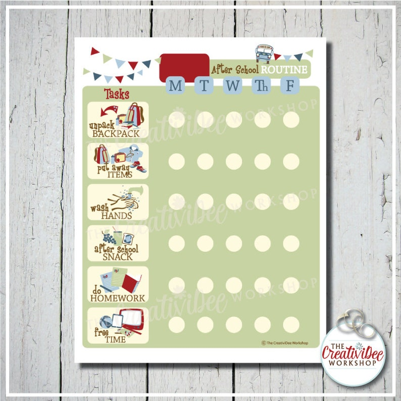 picture regarding Children's Routine Charts Free Printable referred to as Childrens Right after College or university Printable Schedule Chart, Editable Track record, Blue Topic