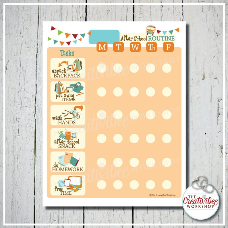 photo relating to After School Schedule Printable titled Printable Just after Higher education Timetable Chart, EDITABLE Reputation, Everyday Plan