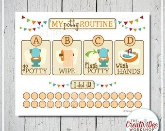 Potty Training Chart | Printable Potty Chart | Potty Routine Chart | Orange | Toilet Training | Potty Routine