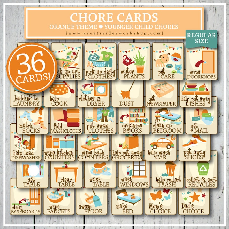 photo about Printable Picture Chore Cards named Printable Chore Playing cards for Youthful Small children, Orange, 36 Playing cards and Chart, Print at House