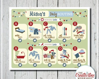 Routine Chart | Printable Daily Chart | Boy or Blue | Horizontal Routine Chart | Morning and Evening Chart | Children's Chart | Chore Chart