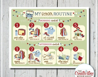 School Routine Chart | Before and After School Routine | Blue | Children's Chart | Printable School Chart | Boy| Chart for School