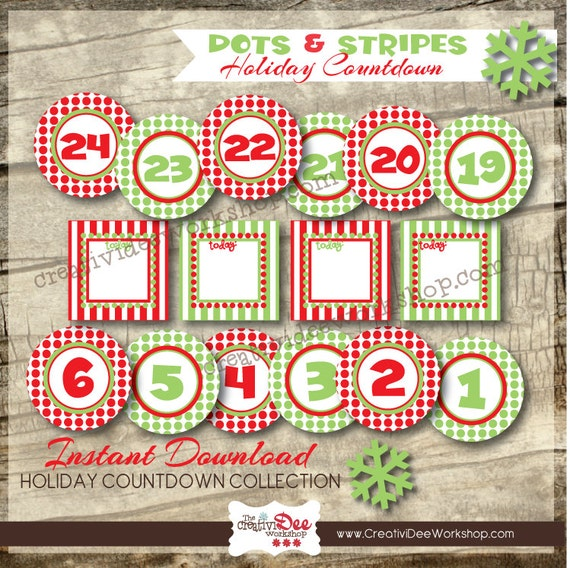 Advent Calendar Or Holiday Countdown 24 Numbers Activity Etsy