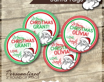 Printable Santa Tags - Santa Gift Tags -  Personalized Santa Tags - Holiday Rounds
