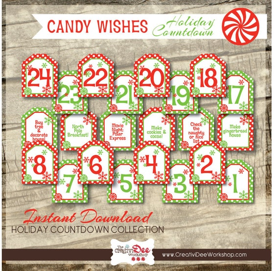 Advent Calendar Holiday Countdown Candy Wishes Numbers Etsy